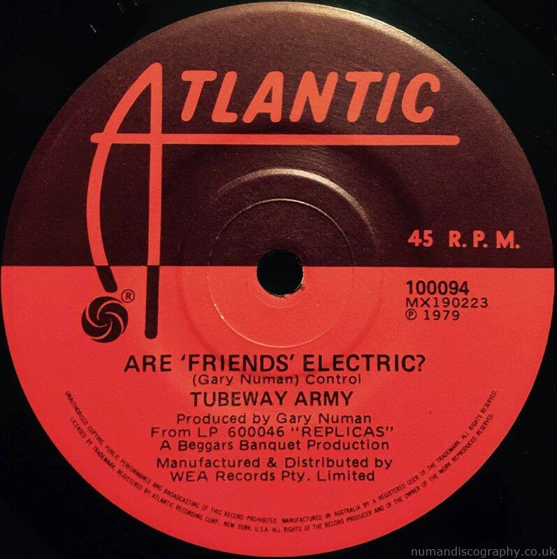 Tubeway Army Down Are Friends Electric ? 1979 Australia
