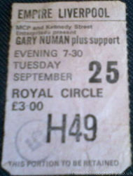Gary Numan Liverpool Ticket 1979