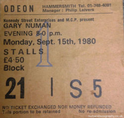 Gary Numan London Ticket 1980