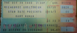 Gary Numan 1980 Milwaukee Auditorium Ticket