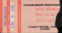 Gary Numan Pittsburgh Ticket 1980