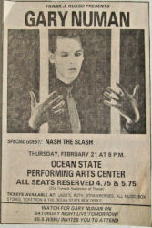 Gary Numan Providence Ocean State Newspaper Clipping 1980