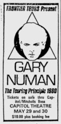 Gary Numan Sydney Newspaper Advert 1980