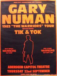 Gary Numan Warriors Aberdeen 1983 UK