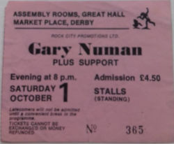 Gary Numan Derby Ticket 01 October 1983