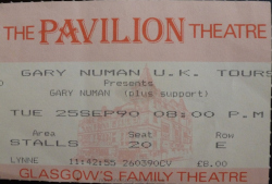 Gary Numan Glasgow Ticket 1990