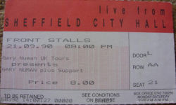 Gary Numan Sheffield Ticket 1990