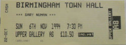 Birmingham Town Hall Ticket November 1994 Gary Numan
