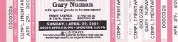 Gary Numan Minneapolis Ticket 2001