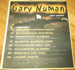 Gary Numan Pure Tour Poster 2001 UK