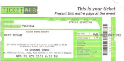 Leeds Ticket 2009
