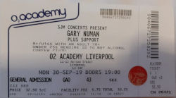 Gary Numan Liverpool Ticket 2019